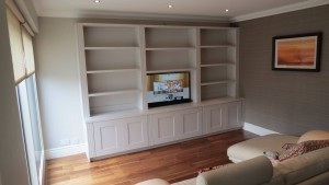 all white custom bookcase