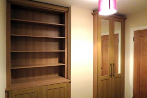 wooden bookcase and doors